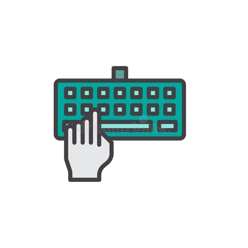 Icono llenado teclado del esquema de la mano que mecanografía libre illustration