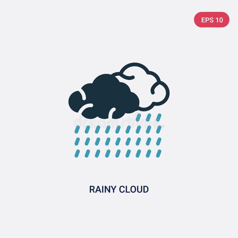 Icono lluvioso bicolor del vector de la nube del concepto náutico el símbolo lluvioso azul aislado de la muestra del vector de la ilustración del vector