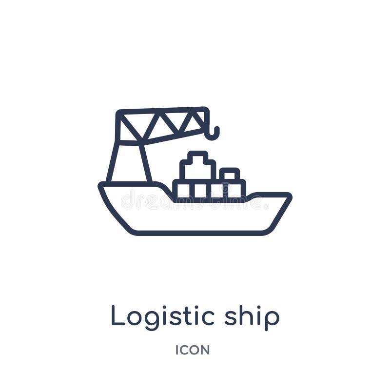 Icono logístico linear de la nave de la entrega y de la colección logística del esquema Línea fina vector logístico de la nave ai stock de ilustración