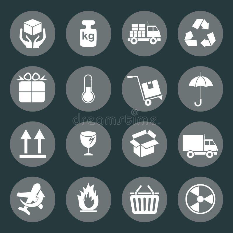 Icono logístico y del embalaje ilustración del vector