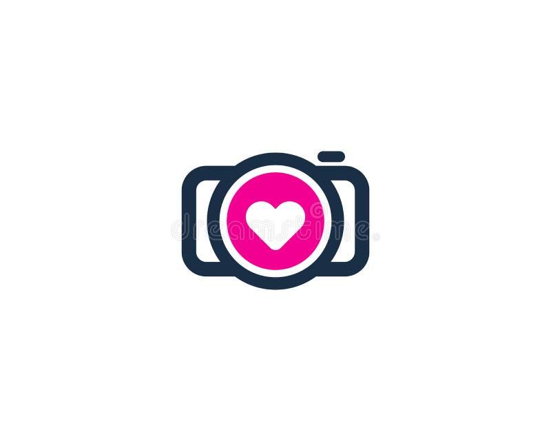 Icono Logo Design Element de la cámara del amor stock de ilustración