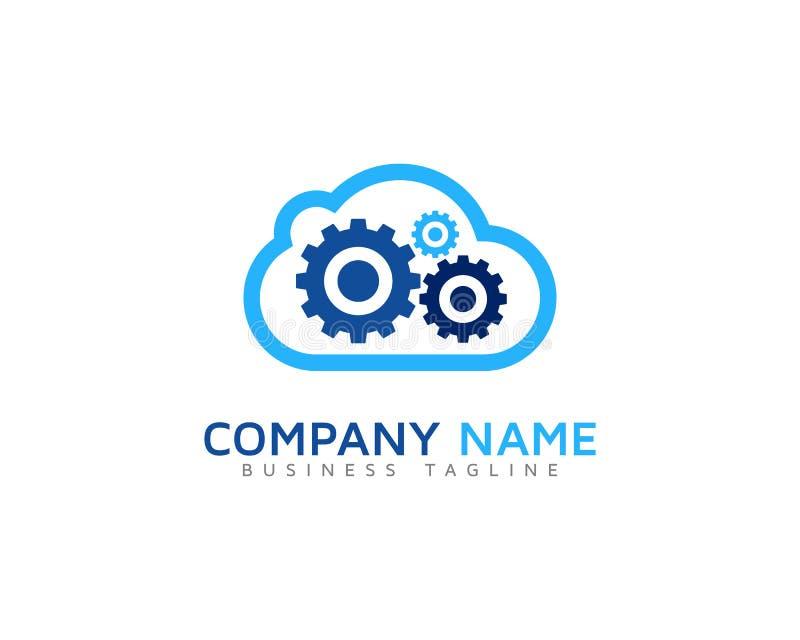 Icono Logo Design Element de la nube de la herramienta del engranaje ilustración del vector