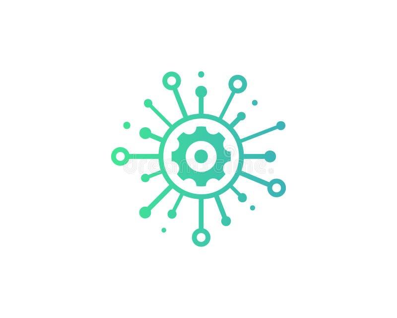 Icono Logo Design Element de la parte de la herramienta del engranaje stock de ilustración