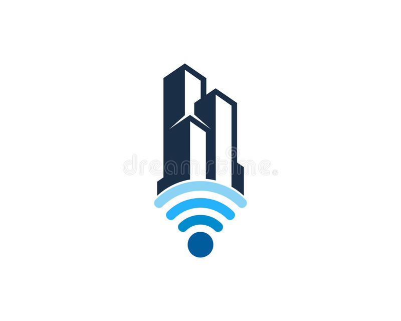 Icono Logo Design Element de Wifi de la oficina del edificio libre illustration