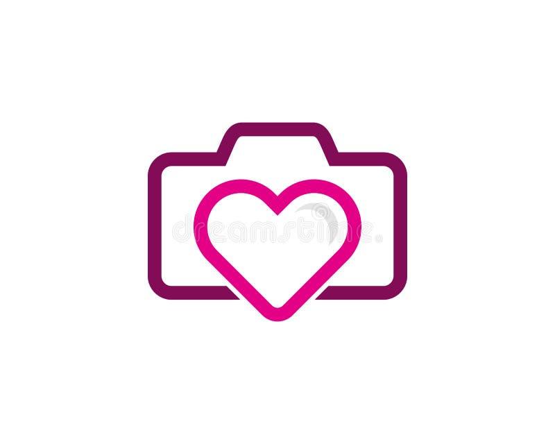 Icono Logo Design Element del amor de la cámara ilustración del vector