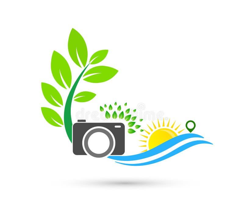 Icono Logo Design Element del cuidado de la onda de agua del sol de la cámara Logotipo verde de la salud stock de ilustración