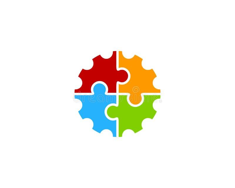 Icono Logo Design Element del engranaje del rompecabezas stock de ilustración
