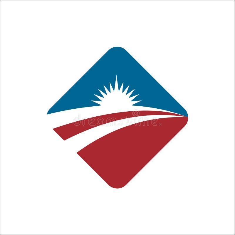 Icono Logo Template Sun del vector sobre horizonte libre illustration