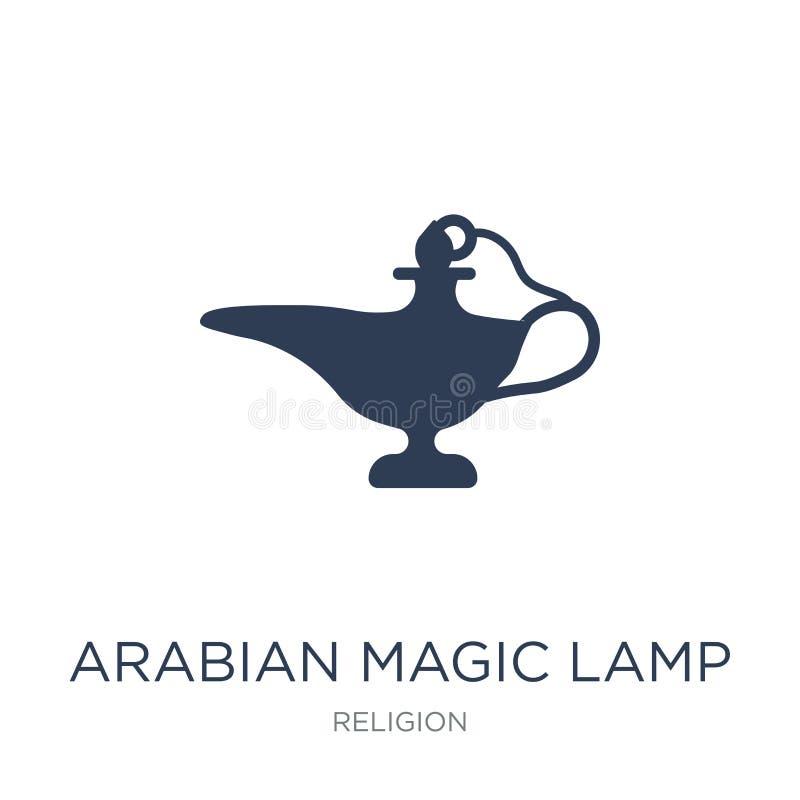 Icono mágico árabe de la lámpara Lámpara mágica árabe i del vector plano de moda ilustración del vector