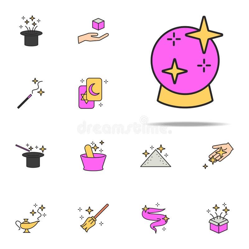 Icono mágico de la bola sistema universal de los iconos mágicos para la web y el móvil stock de ilustración