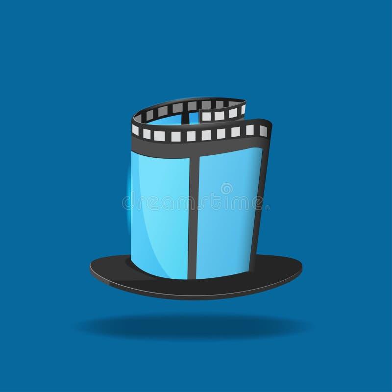Icono mágico de la película del sombrero de la película stock de ilustración