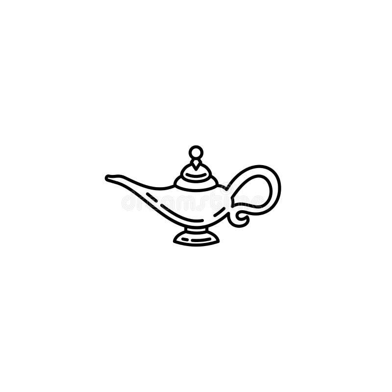Icono mágico del esquema de la lámpara del aceite de Aladdin stock de ilustración