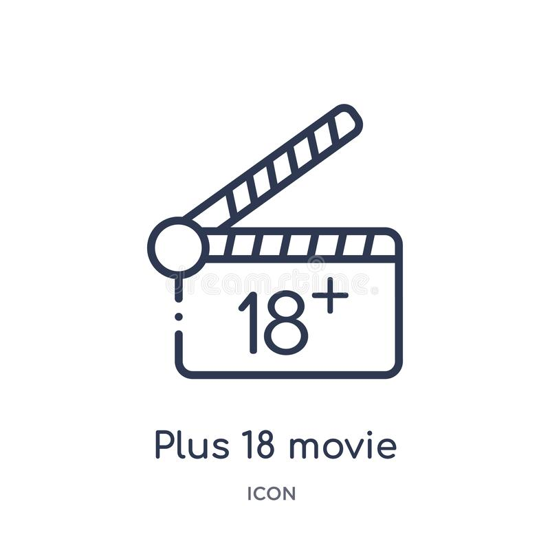 Icono más linear de 18 películas de la colección del esquema del cine Línea fina más vector de 18 películas aislada en el fondo b stock de ilustración