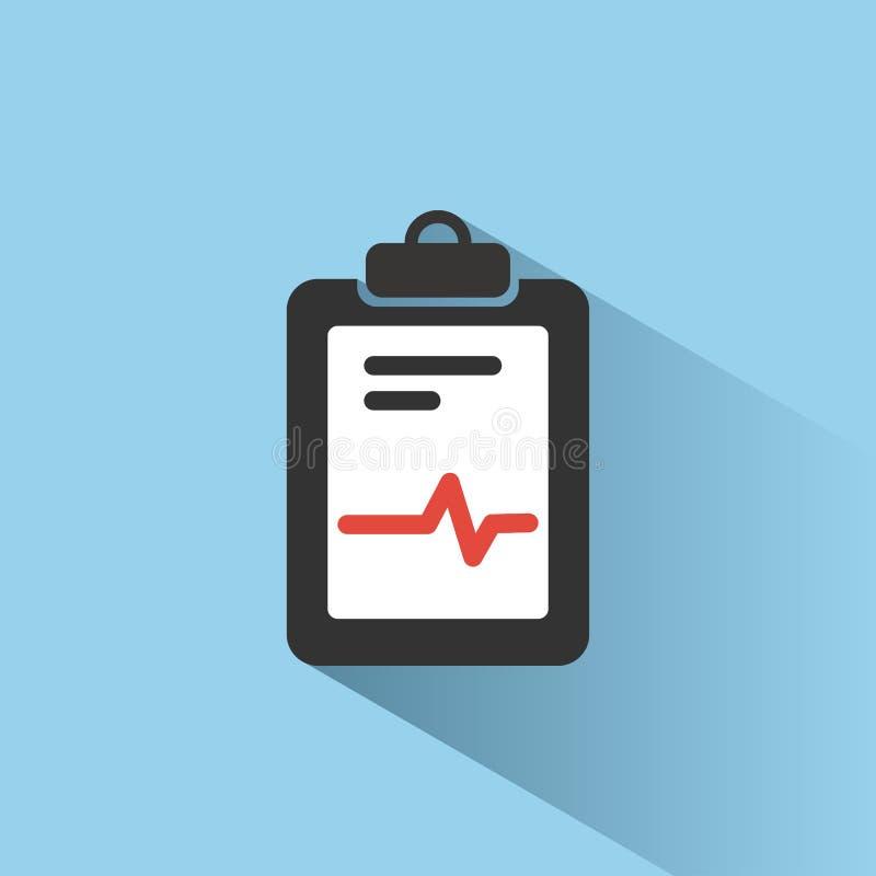Icono médico de la carta con la sombra en fondo azul Informe del cardiograma Gráfico del corazón stock de ilustración