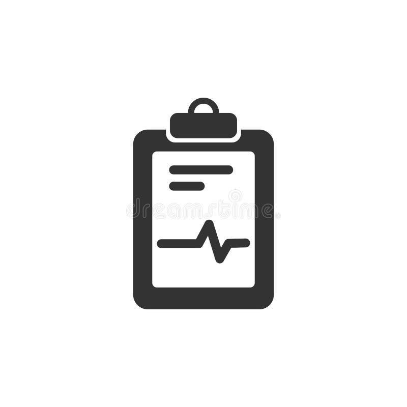 Icono médico de la carta en un fondo blanco Informe del cardiograma Gráfico del corazón libre illustration