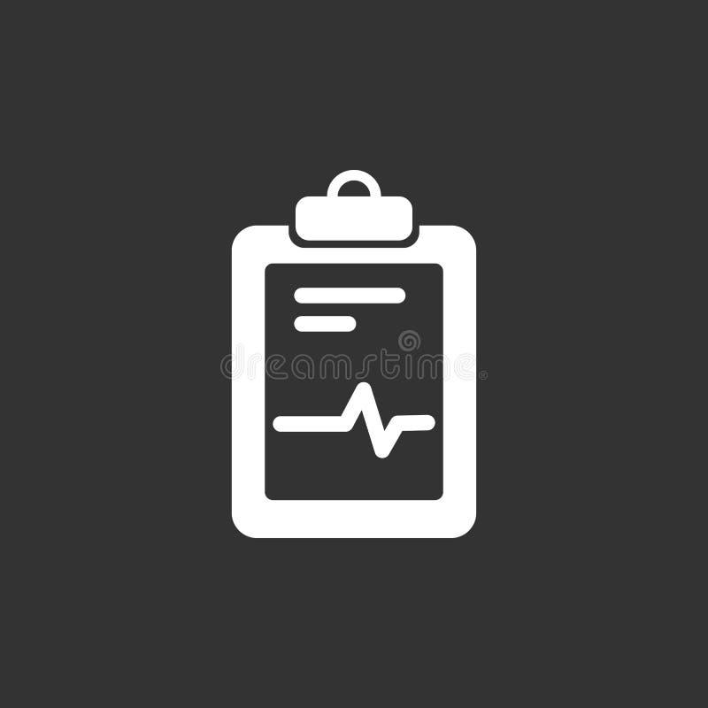 Icono médico de la carta en un fondo negro Informe del cardiograma Gráfico del corazón ilustración del vector