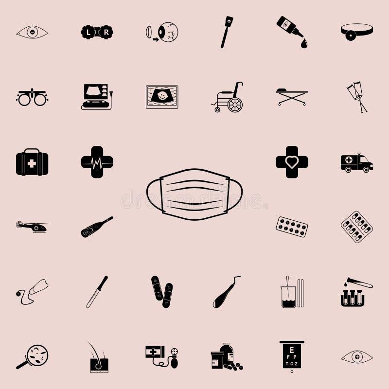 Icono médico de la máscara Sistema universal de los iconos de la medicina para el web y el móvil stock de ilustración