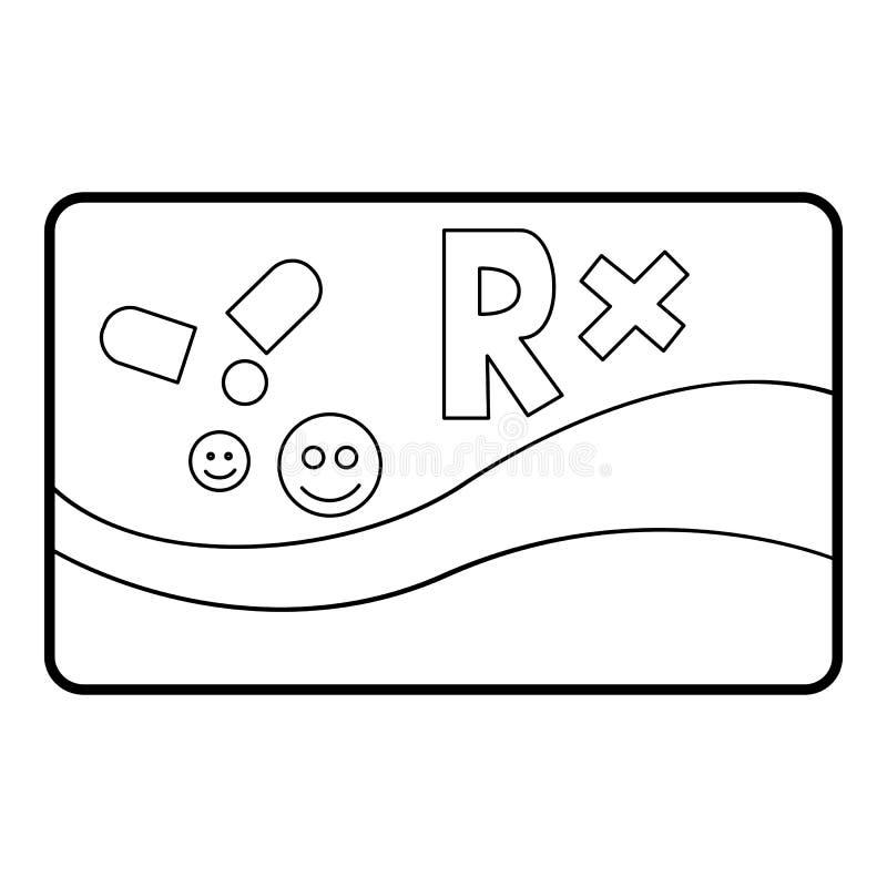 Icono médico de las enfermedades crónicas de la tarjeta, estilo del esquema stock de ilustración