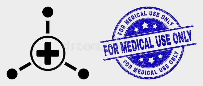 Icono médico de los vínculos de centro del movimiento del vector y rasguñado para el sello del uso médico solamente stock de ilustración