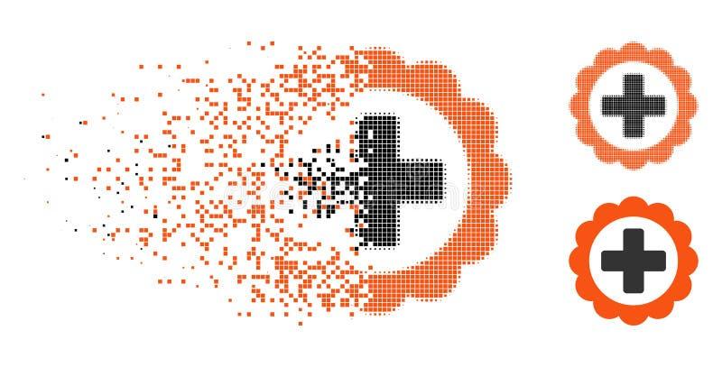 Icono médico de semitono de la etiqueta engomada del pixel disipado ilustración del vector