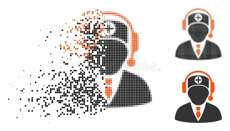 Icono médico de semitono de mudanza del operador de Pixelated stock de ilustración