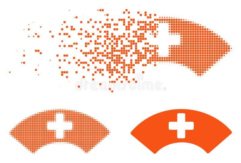Icono médico de semitono quebrado del visera de Pixelated stock de ilustración