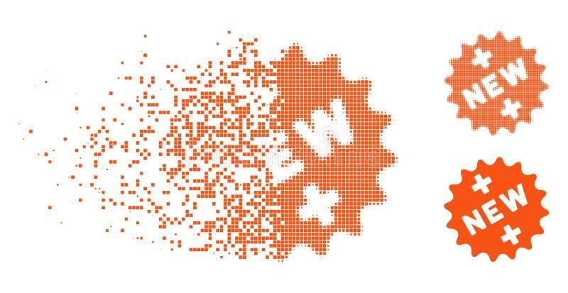Icono médico de semitono quebrado de la etiqueta engomada de Pixelated nuevo ilustración del vector