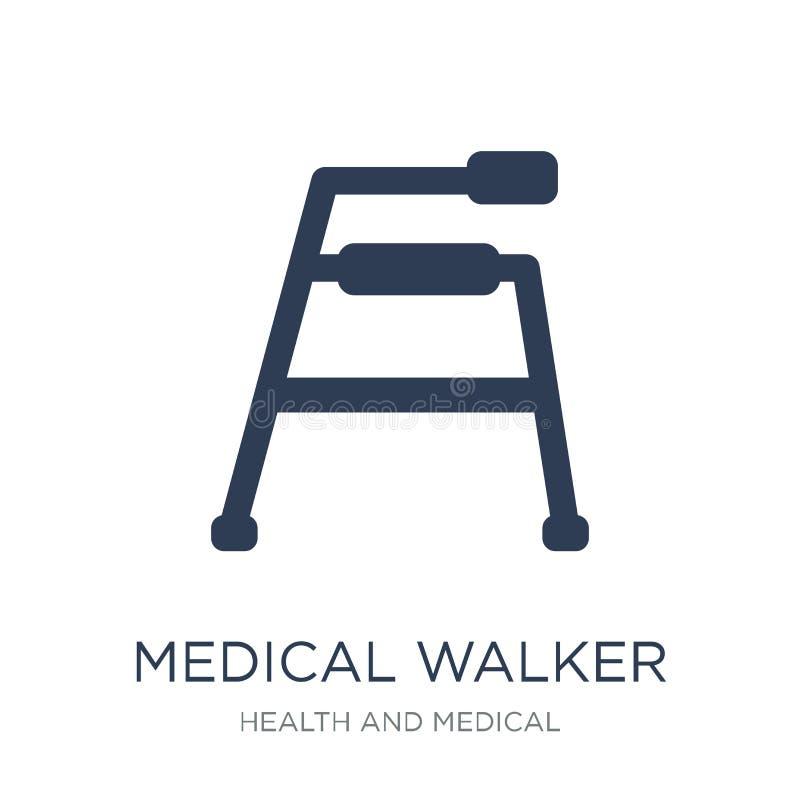 icono médico del caminante Icono médico del caminante del vector plano de moda en w stock de ilustración