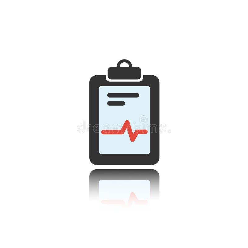 Icono médico del color de la carta con la reflexión en un fondo blanco Informe del cardiograma Gráfico del corazón ilustración del vector
