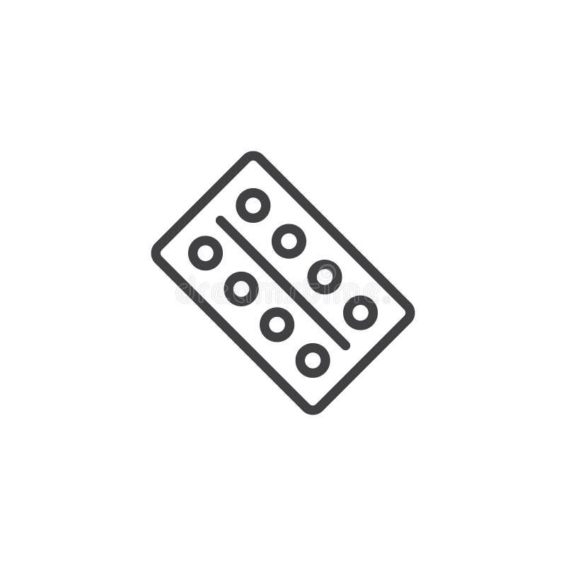 Icono médico del esquema de las píldoras del paquete de ampolla libre illustration
