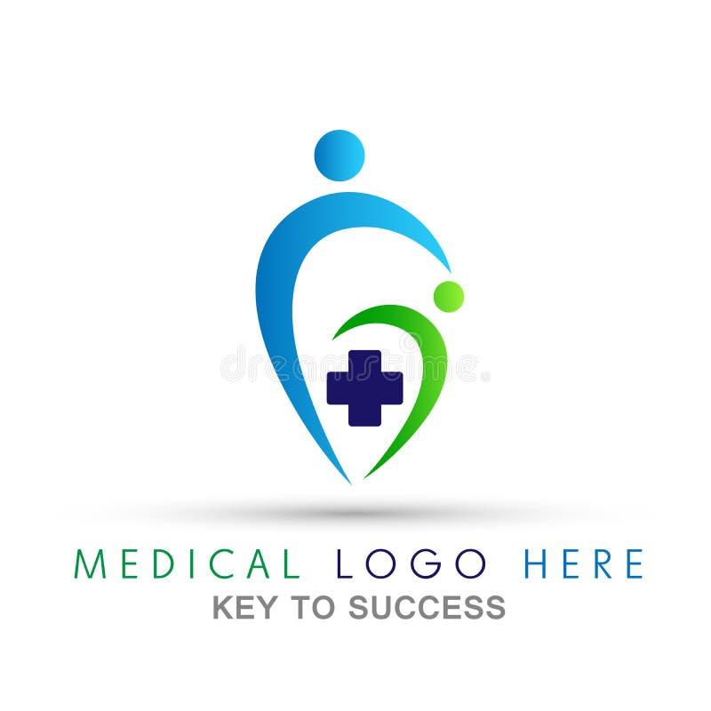 Icono médico del logotipo del corazón de la gente de la cruz de la atención sanitaria en el fondo blanco del blanco del backgroun stock de ilustración