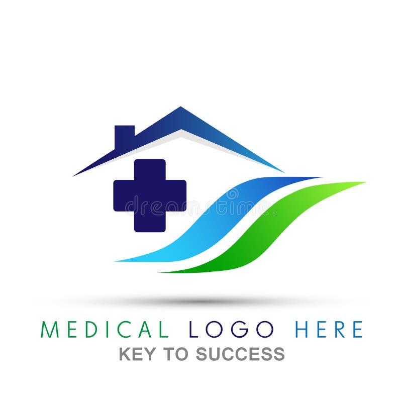 Icono médico del logotipo del hogar de la cruz de la atención sanitaria para la compañía en el fondo blanco del blanco del backgr stock de ilustración