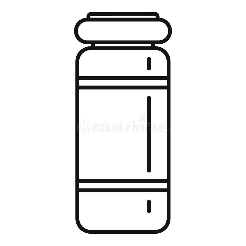 Icono médico del tarro de la inyección, estilo del esquema stock de ilustración