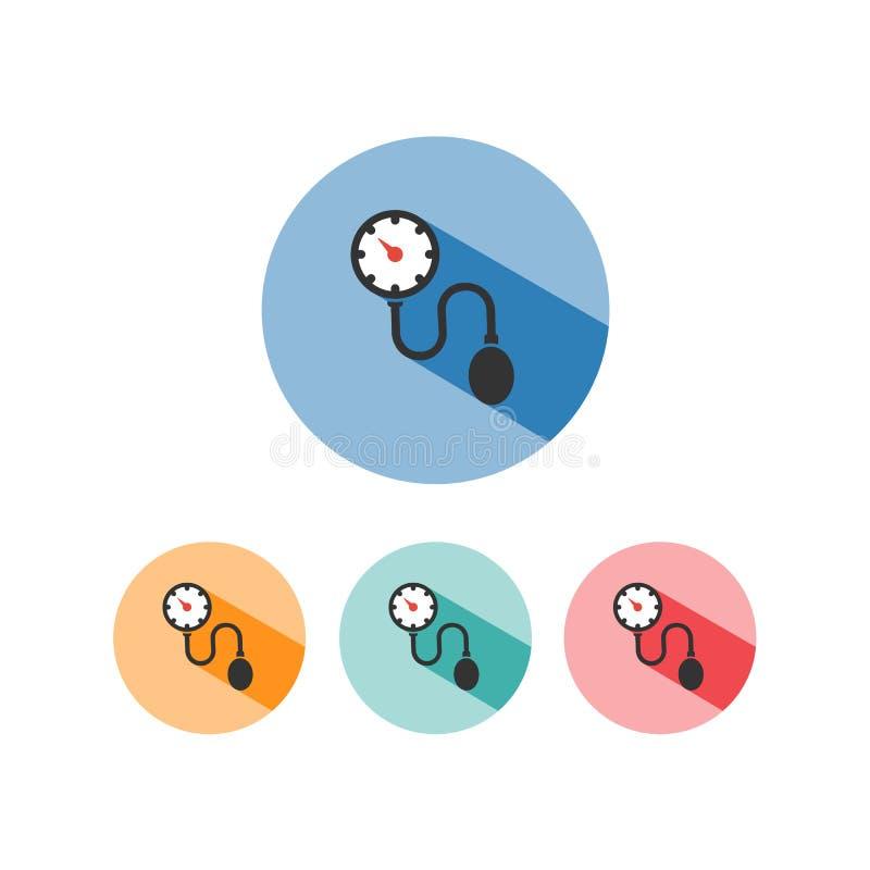 Icono médico del tonometer con la sombra en círculos coloreados Control de presión arterial libre illustration