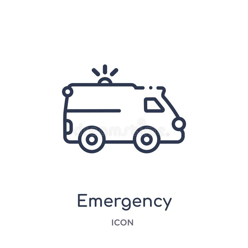 Icono médico del vehículo de la emergencia linear de la colección del esquema de Mechanicons Línea fina icono médico del vehículo ilustración del vector
