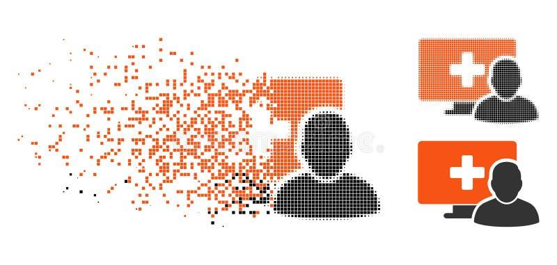 Icono médico disuelto del cliente del ordenador de semitono de Pixelated ilustración del vector