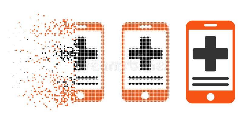 Icono médico en línea de semitono punteado descompuesto de los datos ilustración del vector