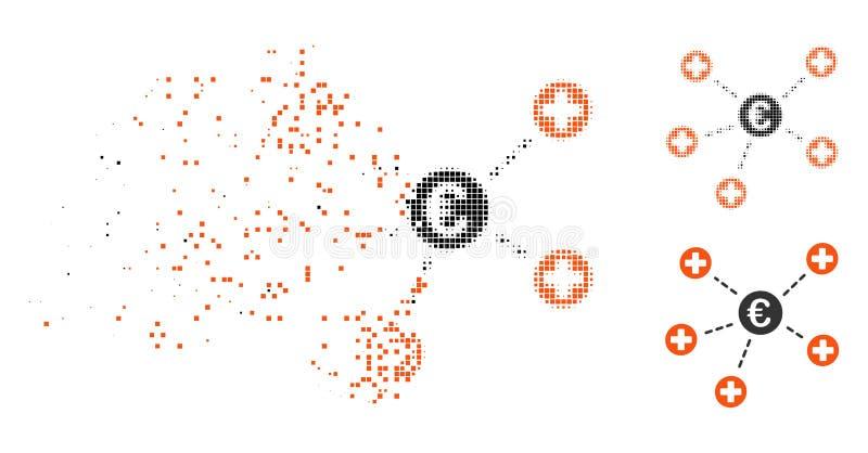 Icono médico euro de semitono Destructed de los vínculos de Pixelated ilustración del vector