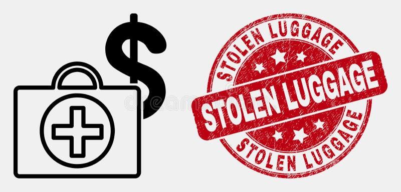 Icono médico financiero linear del caso del vector y sello robado rasguñado del equipaje libre illustration