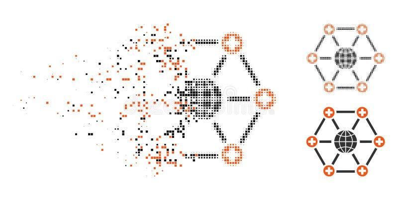 Icono médico global de semitono punteado destrozado de la red ilustración del vector