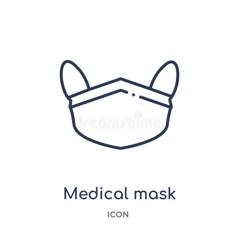 Icono médico linear de la máscara de la salud y de la colección médica del esquema Línea fina icono médico de la máscara aislado  libre illustration