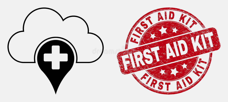 Icono médico linear de la nube del vector y primeros auxilios Kit Seal del Grunge ilustración del vector