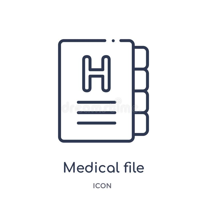 Icono médico linear del fichero de la salud y de la colección médica del esquema Línea fina icono médico del fichero aislado en e ilustración del vector