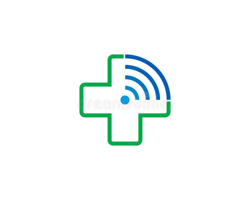 Icono médico Logo Design Element de Wifi ilustración del vector