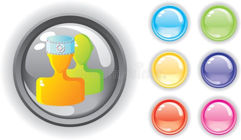 Icono médico y botones coloridos fijados fotografía de archivo