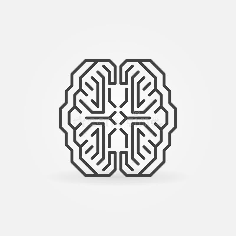 Icono mínimo del esquema del concepto del vector elegante del cerebro de Digitaces ilustración del vector