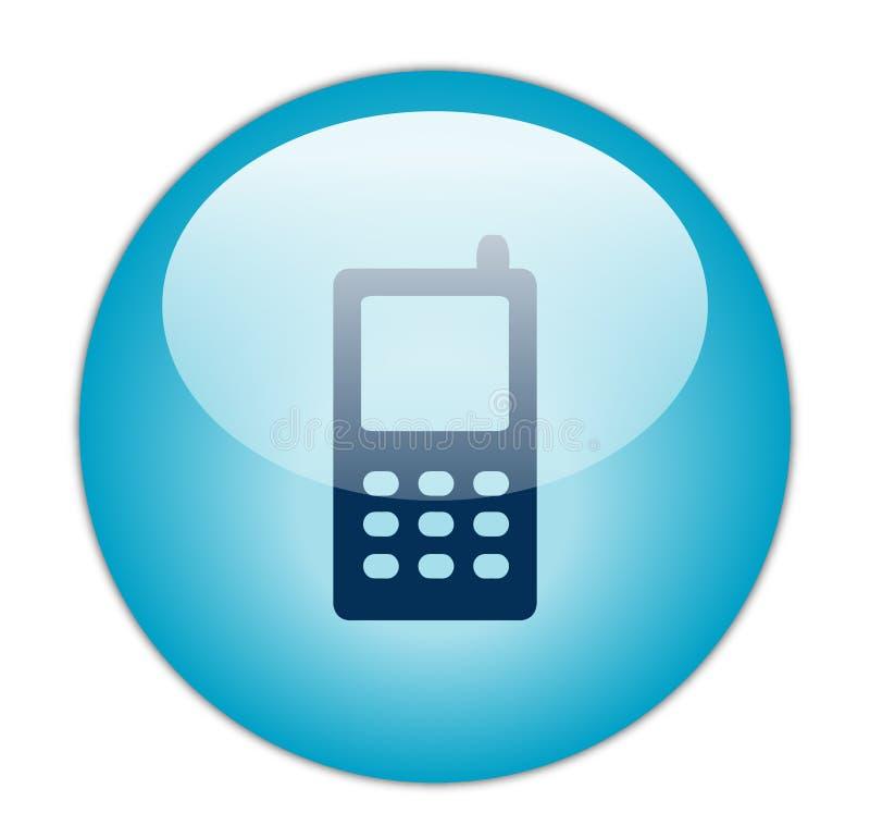 Icono móvil azul vidrioso stock de ilustración