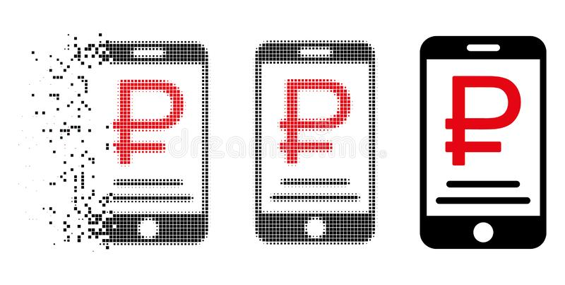 Icono móvil de disolución del pago de la rublo de semitono de Pixelated ilustración del vector