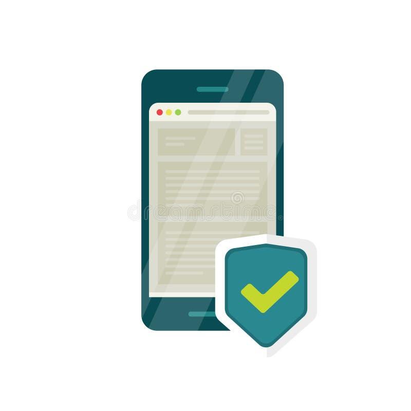Icono móvil de la seguridad de Internet, escudo del navegador del smartphone, protección de datos del cortafuego ilustración del vector