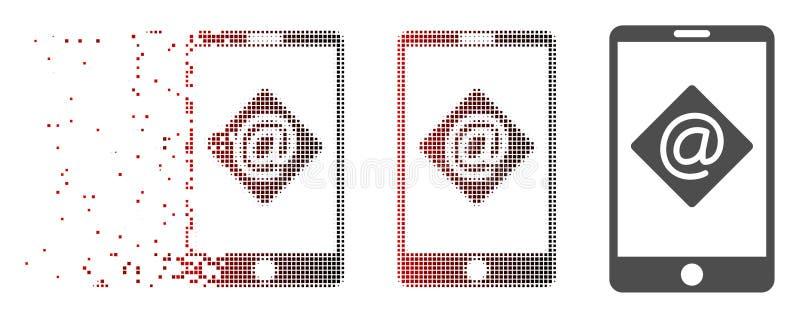 Icono móvil de semitono de desaparición del correo electrónico del pixel ilustración del vector
